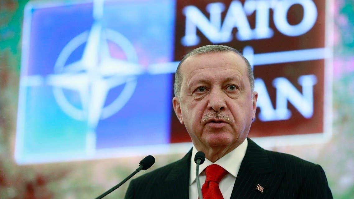 Turkey's President Recep Tayyip Erdogan addresses a meeting of the NATO's Mediterranean Dialogue, in Ankara, May 6, 2019. (AP)