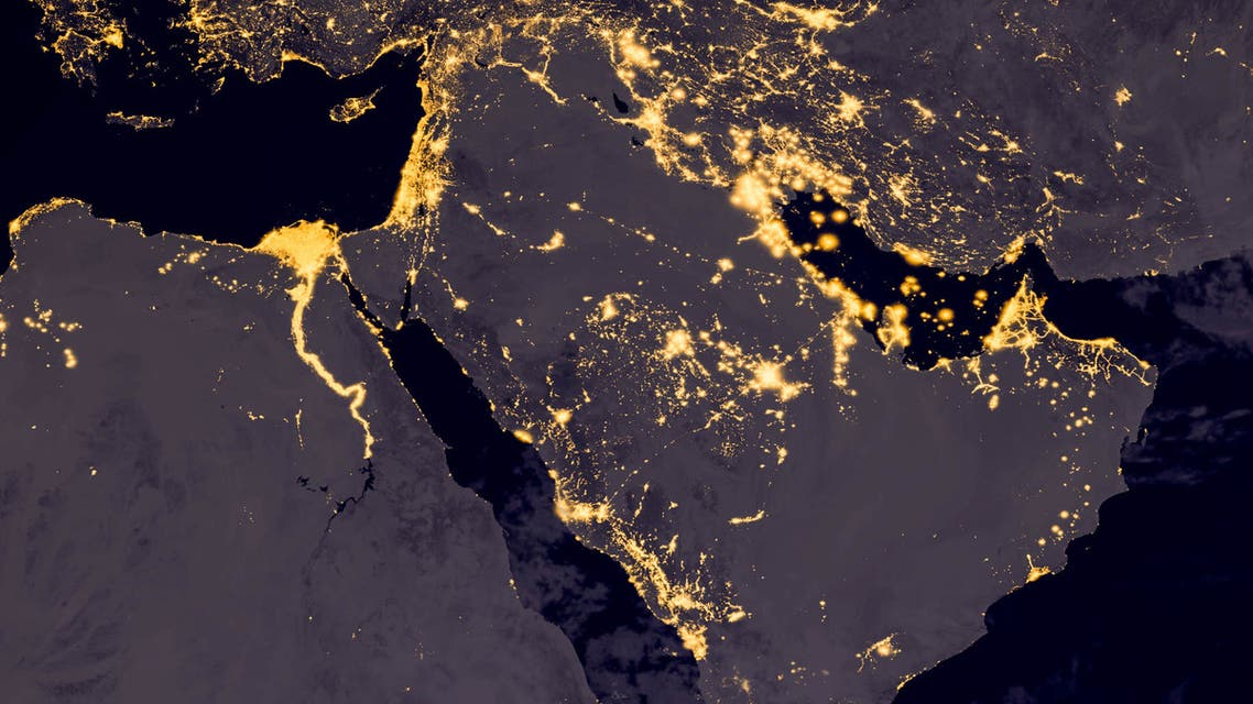 Middle east, west asia, east europe lights during night as it looks like from space. (Wael Alreweie/iStock)