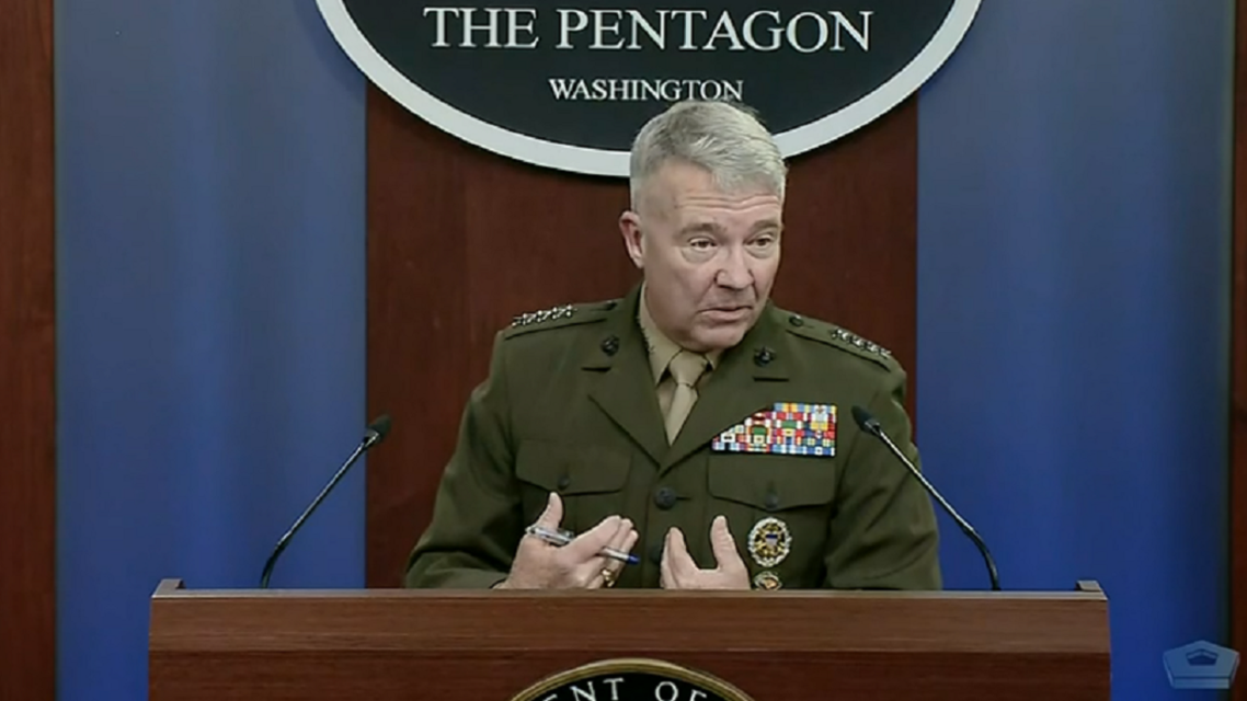 CENTCOM chief Gen. Kenneth McKenzie speaks to reporters at the Pentagon, April 22, 2021. (Screengrab)