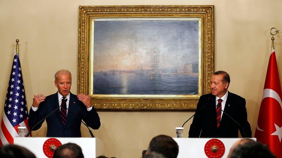 Then-VP Joe Biden (L) next to Turkey's President Tayyip Erdogan during a news conference in Istanbul, Nov. 22, 2014. (Reuters)