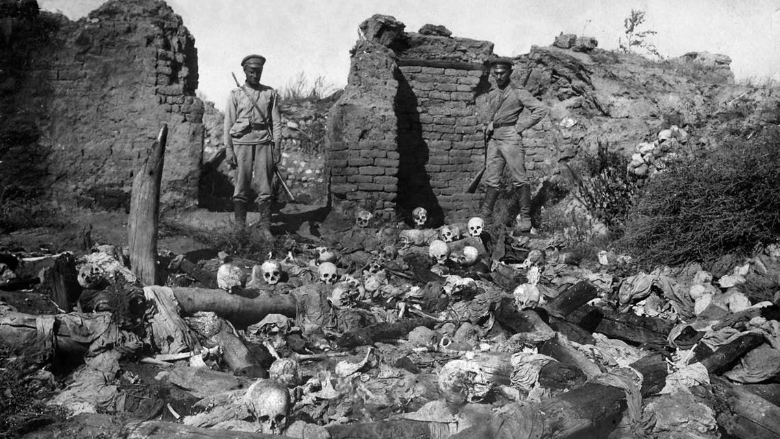 A picture released by the Armenian Genocide Museum-Institute dated 1915 purportedly shows soldiers standing over skulls of victims from the Armenian village of Sheyxalan in the Mush valley, on the Caucasus front during the First World War. Armenians say up to 1.5 million of their forebears were killed in a 1915-16 genocide by Turkey's former Ottoman Empire. Turkey says 500,000 died and ascribes the toll to fighting and starvation during World War I. AFP PHOTO / ARMENIAN GENOCIDE MUSEUM INSTITUTE