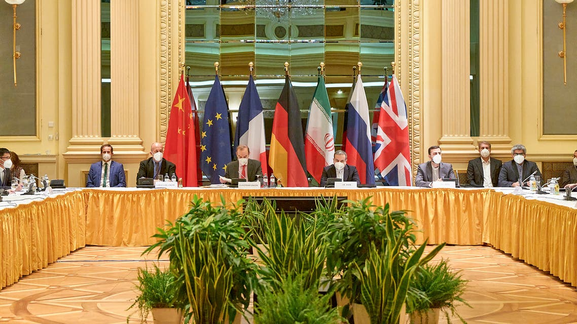 This handout photo taken and released by the EU Delegation in Vienna on April 20, 2021 shows delegation members from the parties to the Iran nuclear deal - Germany, France, Britain, China, Russia and Iran – attending a meeting at the Grand Hotel of Vienna as they try to restore the deal. Diplomats from Britain, China, France, Germany, Iran and Russia have been meeting regularly since early this month in a luxury Vienna hotel, while US diplomats are participating indirectly in the talks from a nearby hotel.