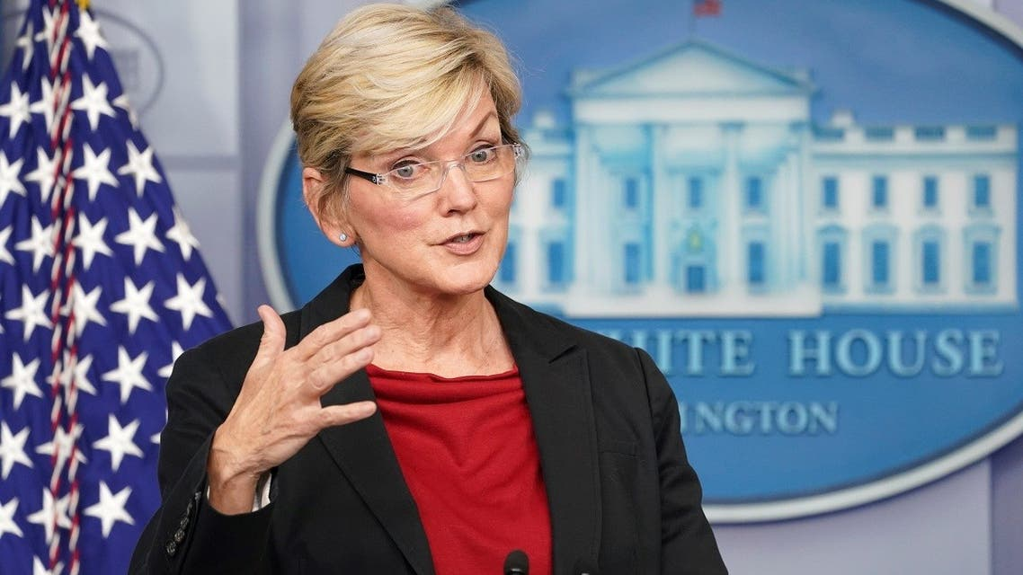 US Secretary of Energy Jennifer Granholm speaks during a press briefing at the White House in Washington, US, on April 8, 2021. (Reuters)