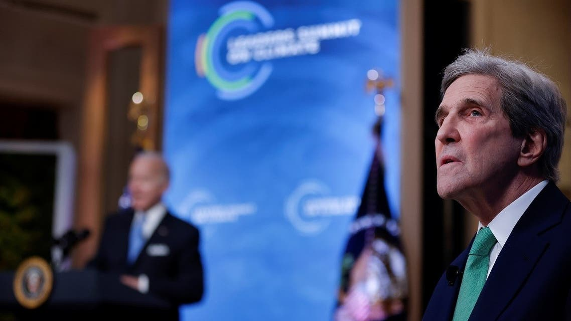 US Special Presidential Envoy for Climate John Kerry looks on during a virtual Climate Summit with world leaders in the East Room at the White House in Washington, US, on April 23, 2021. (Reuters)