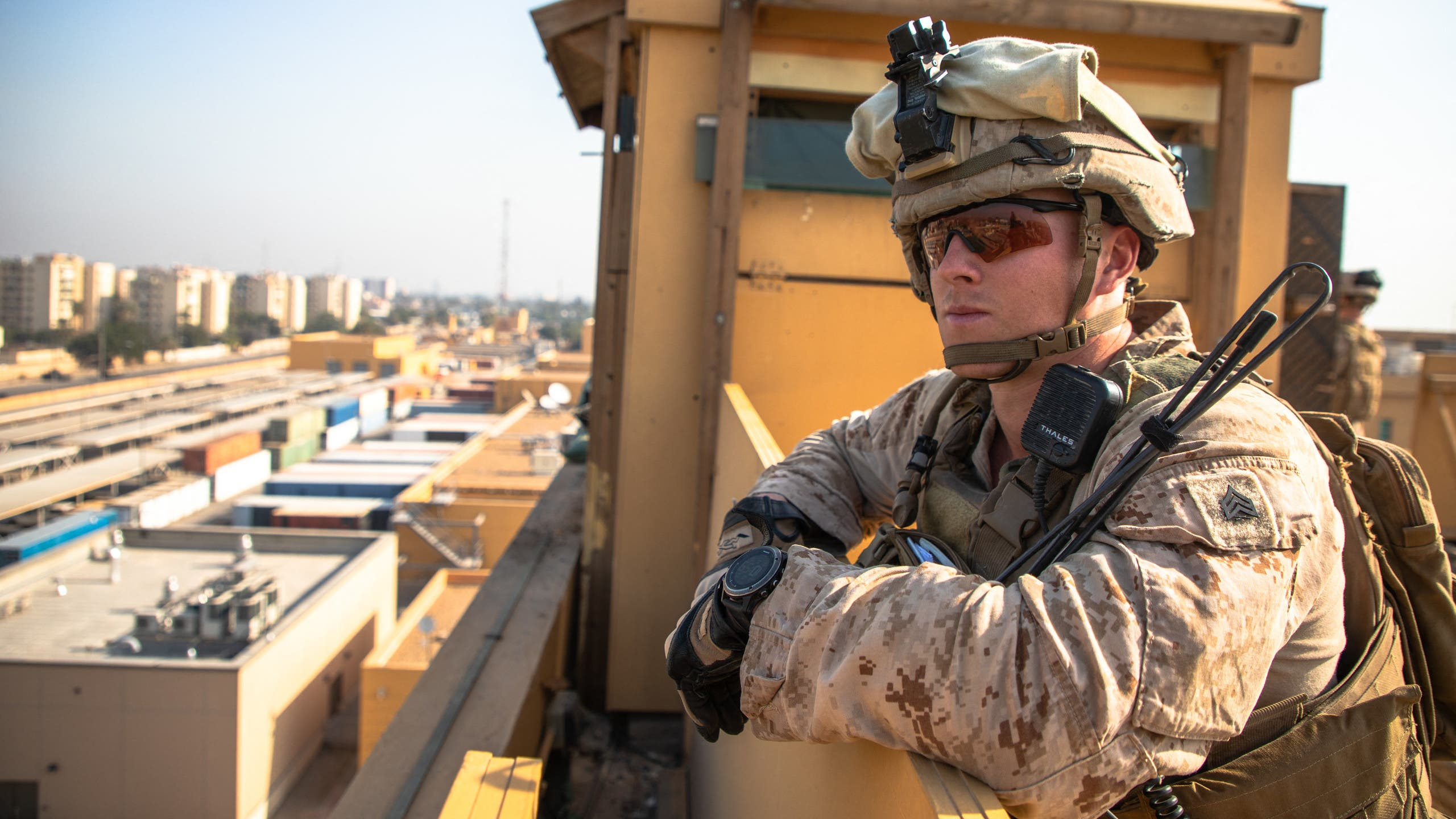 This handout image released courtesy of the US Department of Defense (DOD) shows US Marines with 2nd Battalion, 7th Marines, assigned to the Special Purpose Marine Air-Ground Task Force-Crisis Response-Central Command (SPMAGTF-CR-CC) 19.2, reinforcing the Baghdad Embassy Compound in Iraq on January 3, 2020. US personnel at the American embassy in Baghdad, which has come under attack by pro-Iran protesters, are safe and there are no plans to evacuate, the State Department said on December 31, 2019.