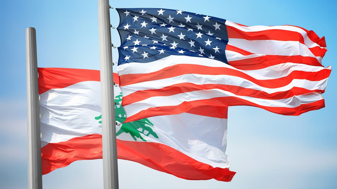 United States of America and Lebanon National Flags - 3D Illustration Stock Footage stock photo