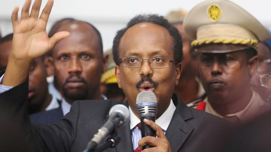 Somalia's newly-elected President Mohamed Abdullahi Farmajo addresses lawmakers after winning the vote at the airport in Somalia's capital Mogadishu, February 8, 2017. (Reuters)