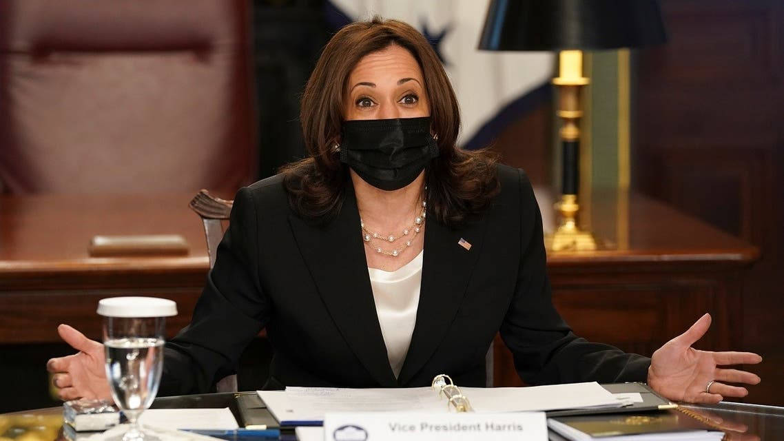 US Vice President Kamala Harris reacts during a virtual roundtable of experts on the Northern Triangle at the White House in Washington, DC, US April 14, 2021. (Reuters/Kevin Lamarque)