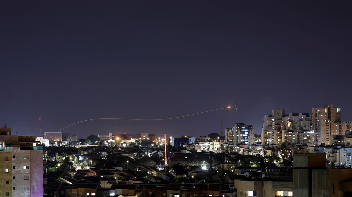 Iron Dome anti-missile system fires an interceptor missile as a rocket is launched from Gaza towards Israel, as seen from the city of Ashkelon, Israel April 24, 2021. REUTERS/Amir Cohen