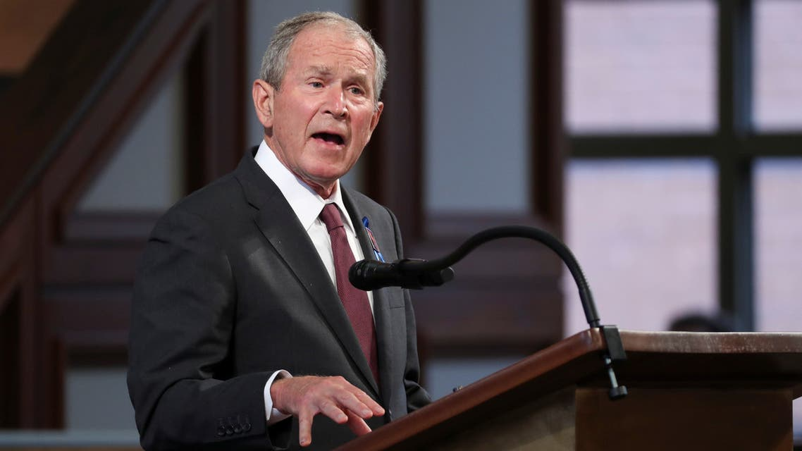 Former U.S. President George W. Bush speaks during the funeral of late U.S. Congressman John Lewis, a pioneer of the civil rights movement and long-time member of the U.S. House of Representatives who died July 17, at Ebeneezer Baptist Church in Atlanta, Georgia, U.S. July 30, 2020. Alyssa Pointer/Pool via REUTERS.
