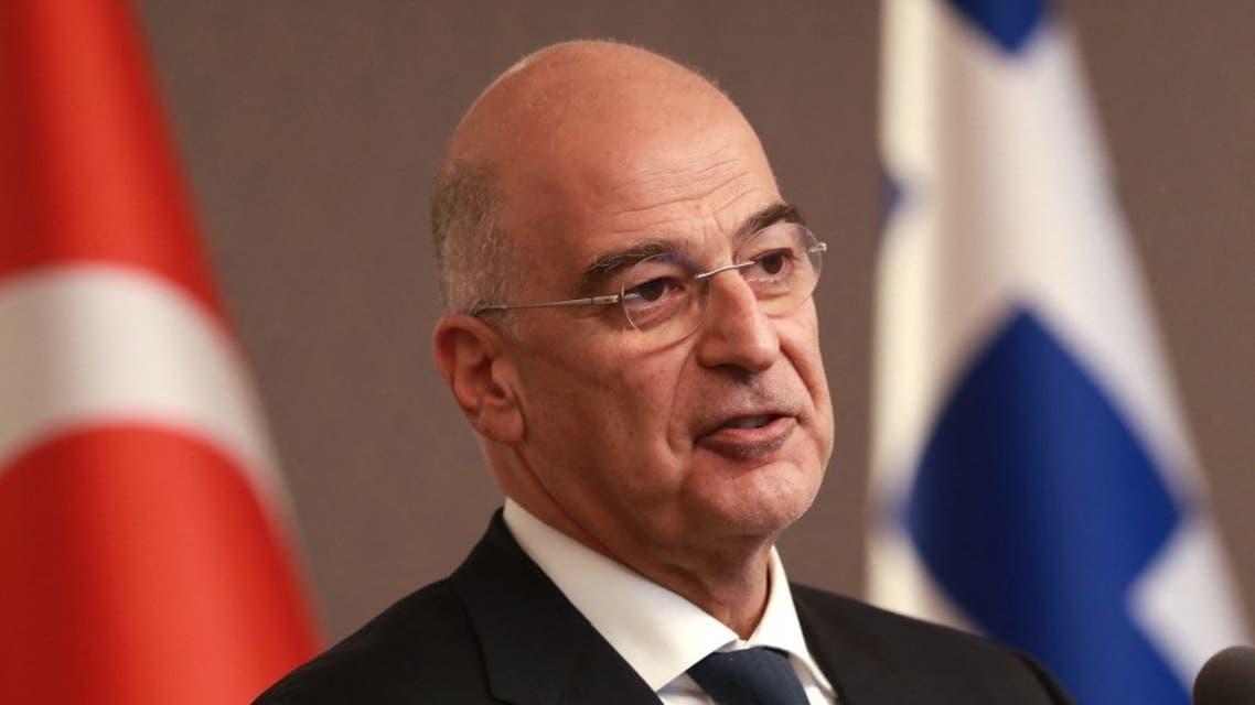 وزير الخارجية اليوناني، نيكوس ديندياس من أنقرة - 15 أبريل 2021 - فرانس برس