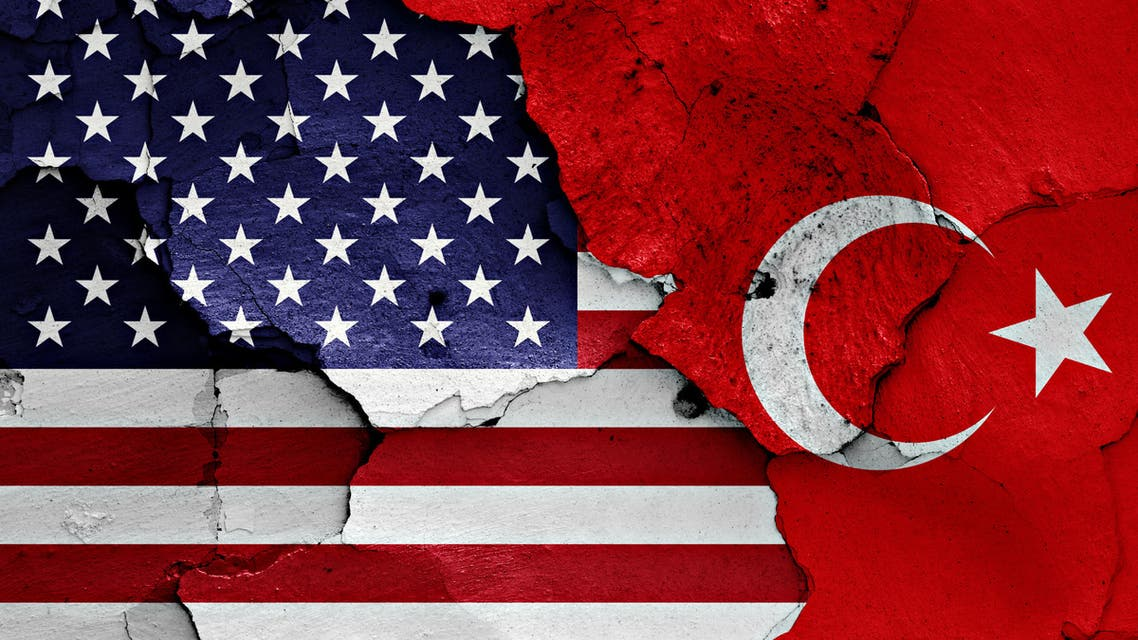 US and Turkish Flags stock photo