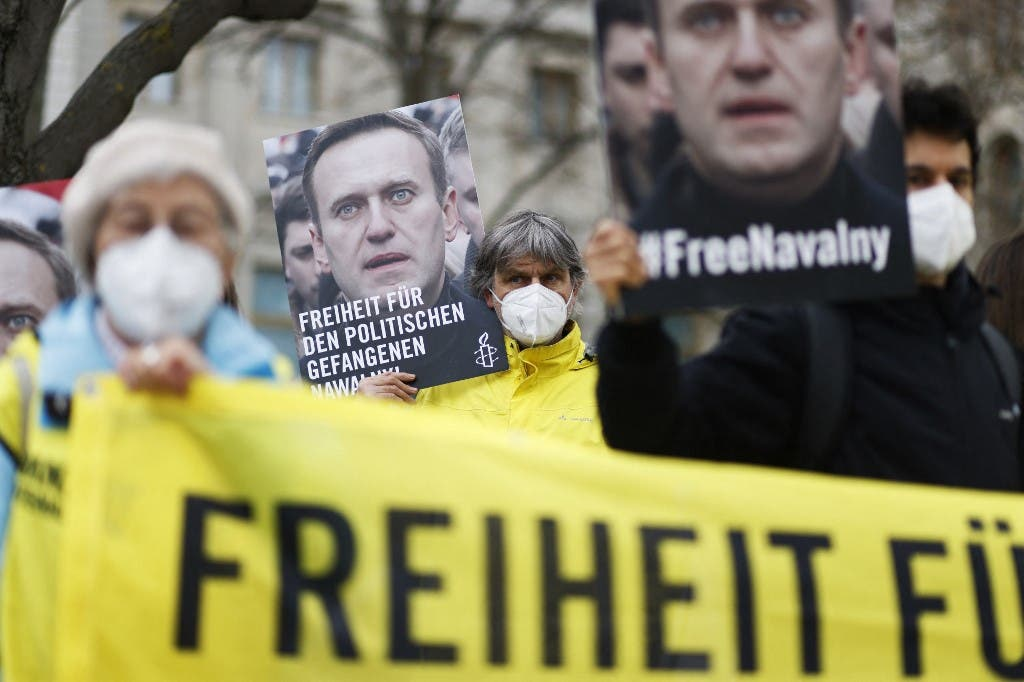 تظاهرات تطالب بالحرية لإليكس نافالني - فرانس برس