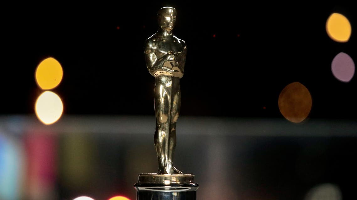 An Oscars statuette on display at a screening of the Oscars in Paris, France April 26, 2021. (Reuters)