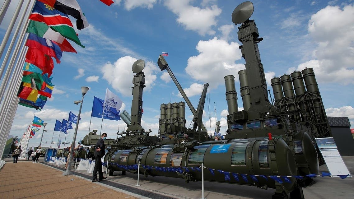 "Russian Antey-4000 anti-aircraft missile systems are on display during the International military-technical forum ""Army-2020"" at Patriot Congress and Exhibition Centre in Moscow Region, Russia, on August 23, 2020. (Reuters)"