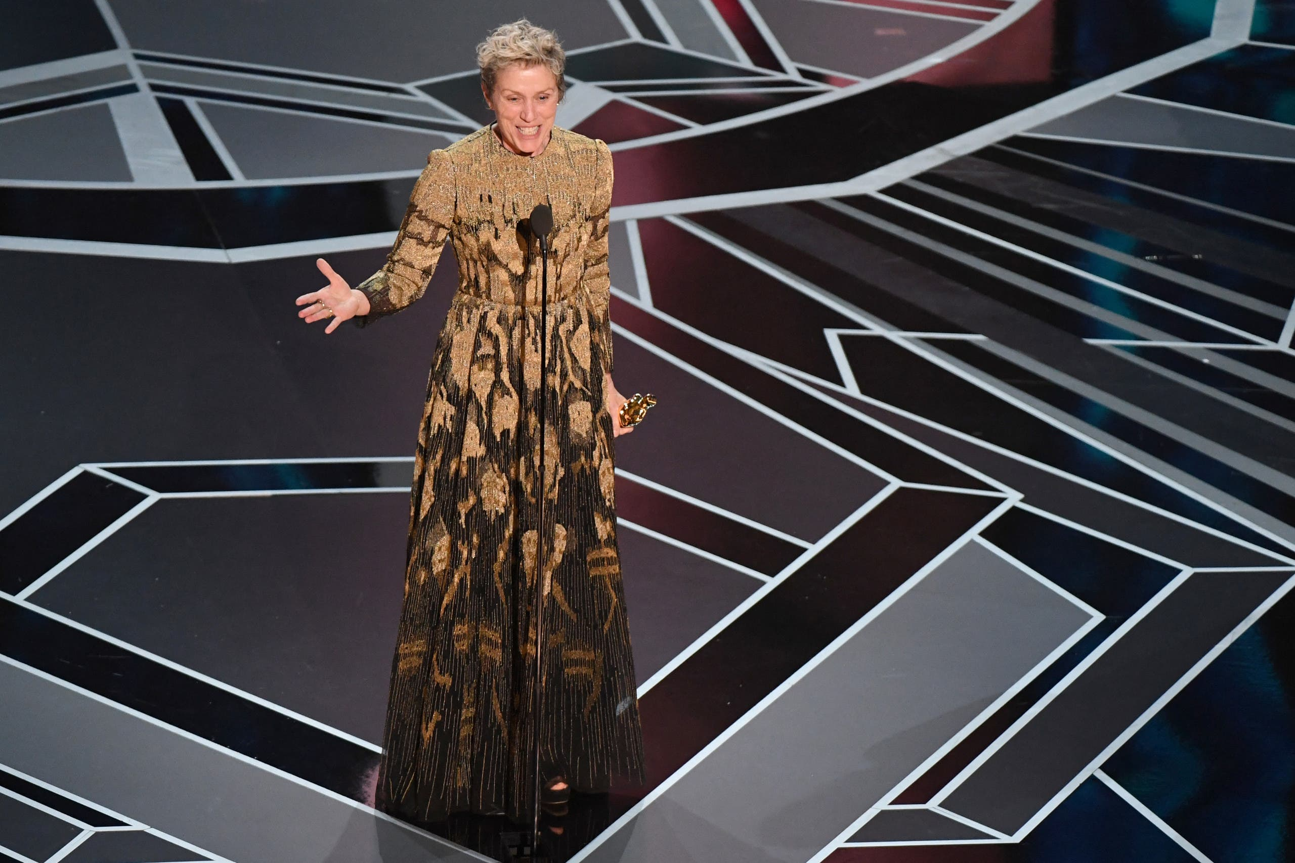 In this file photo taken on March 4, 2018 US actress Frances McDormand delivers a speech after she won the Oscar for Best Actress in Three Billboards outside Ebbing, Missouri during the 90th Annual Academy Awards show in Hollywood, California. Frances McDormand has long been an Academy favorite, and she anchors this year's frontrunner Nomadland with a characteristically unglamorous portrayal of a grieving widow living in an old van. (File photo: AFP)