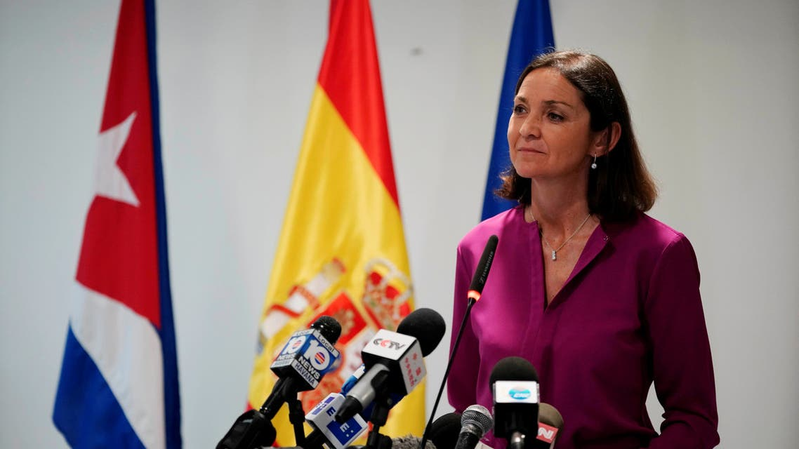 Spain's Tourism Minister Reyes Maroto speaks during a news conference in a hotel in Havana, Cuba, May 6, 2019. Picture taken May 6, 2019. (Reuters)
