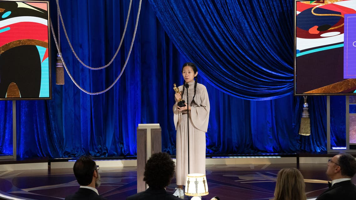 In this handout photo courtesy of AMPAS (Academy of Motion Picture Arts and Sciences) Chloe Zhao accepts the Oscar for Directing Nomadland during the live ABC Telecast of The 93rd Oscars at Union Station in Los Angeles, on April 25, 2021. (File photo: AFP)