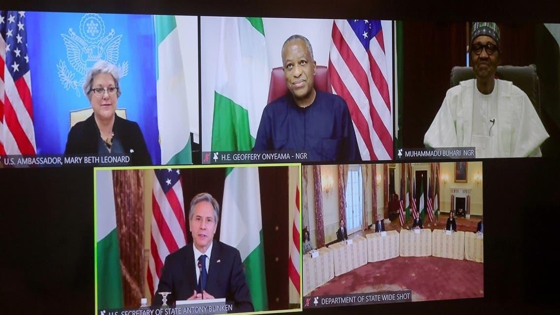 Secretary of State Antony Blinken during a virtual bilateral meeting with Nigeria's President Muhammadu Buhari in Washington, April 27, 2021. (Reuters)
