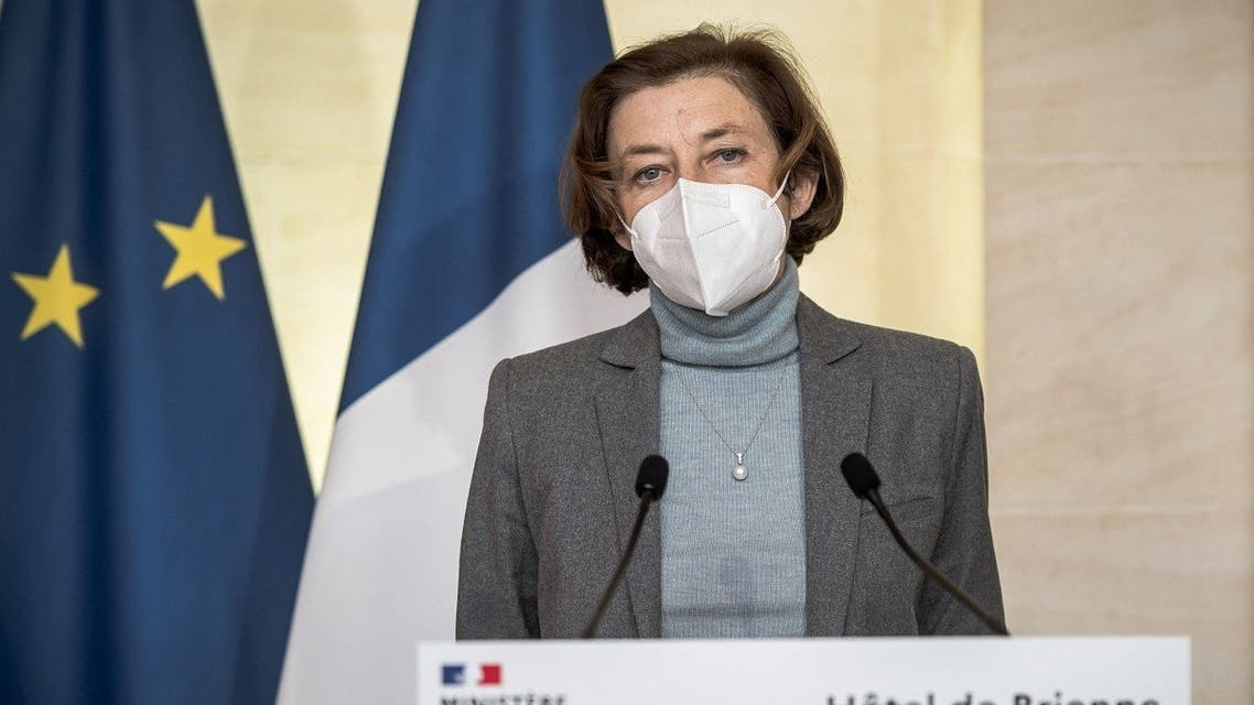French Defence Minister Florence Parly holds a press conference with the German Defence minister following their meeting at the Hotel de Brienne building of the French Ministry of Armed Forces in Paris on April 20, 2021. (Pool/AFP)