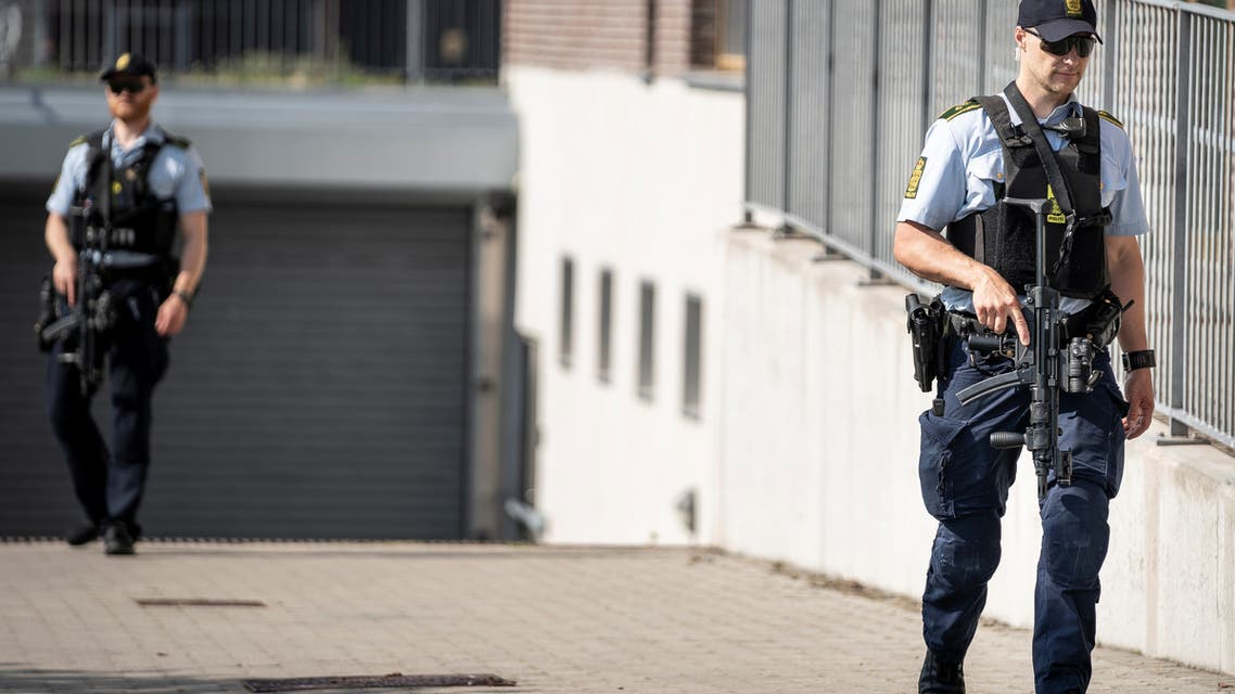 Danish police patrol outside the courthouse in Roskilde, Denmark June 26, 2020. (File photo: Reuters)