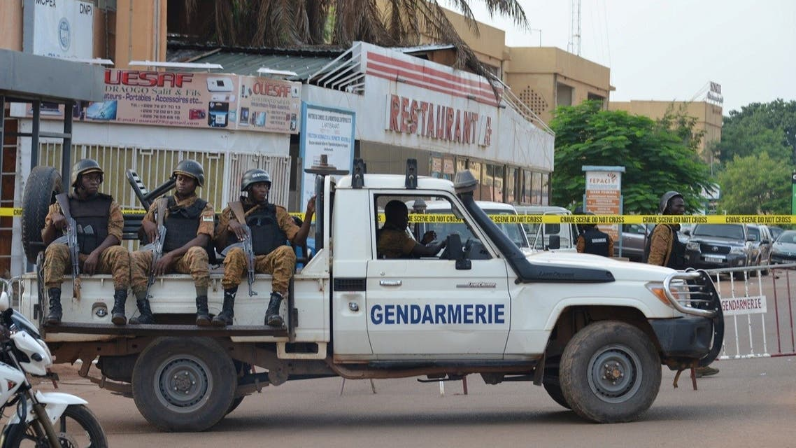 A file photo shows security forces deploy to secure the area after an overnight raid on a restaurant in Ouagadougou, Burkina Faso August 14, 2017. (Reuters/Hamany Daniex)