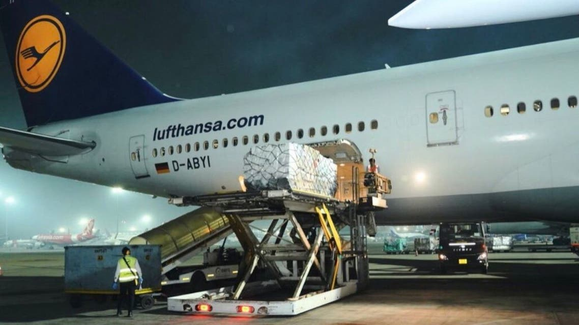 The first shipment of medical aid from Britain arrives in India. (Twitter)