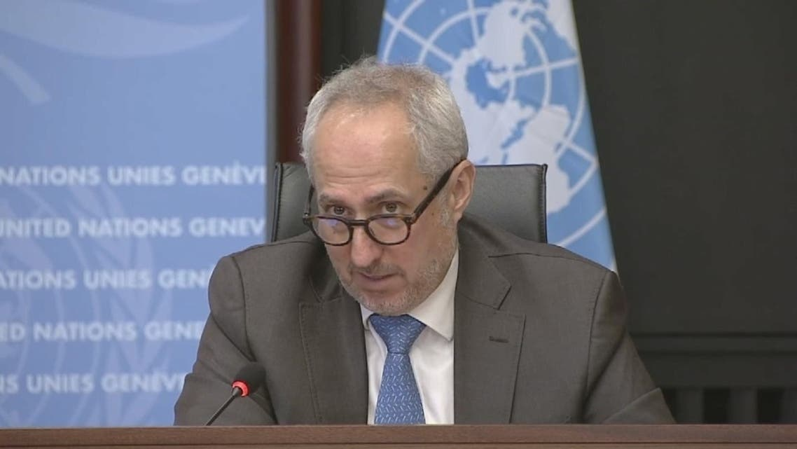 Stephane Dujarric, spokesman for the UN Secretary-General during a press briefing on the informal talks on Cyprus in Geneva, Switzerland. (United Nations via Reuters)