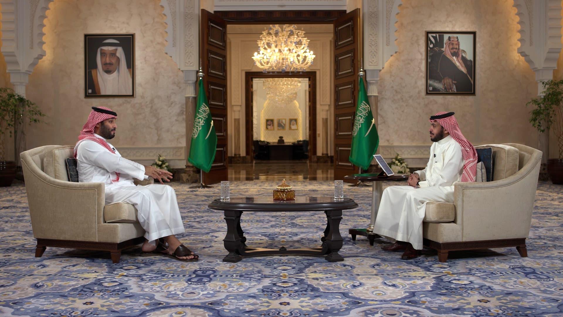 Saudi Arabia's Crown Prince Mohammed bin Salman during the interview. (Screengrab)