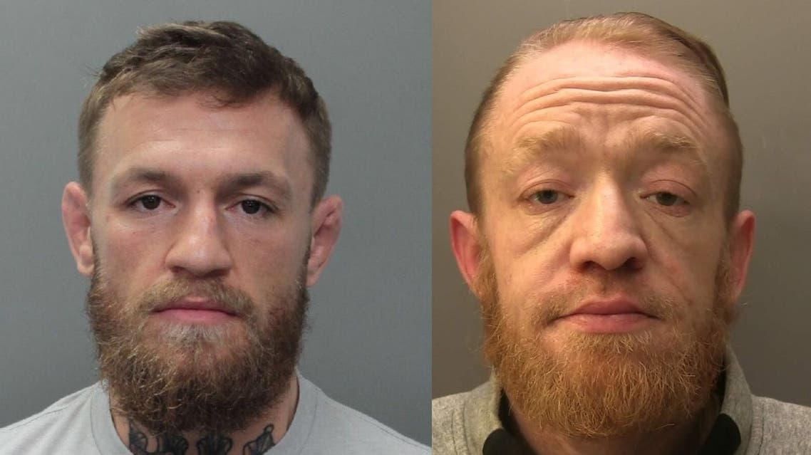 This combination image shows Conor McGregor (L) in a booking photo at Miami-Dade County Jail in Miami, Florida, US March 11, 2019 accused of smashing a fan's phone (charges that were later dropped), and Briton Mark Nye, 34, (R) a Conor McGregor impersonator who was sentenced to nine months in jail for dealing drugs. (Reuters/Surrey Police via Facebook)