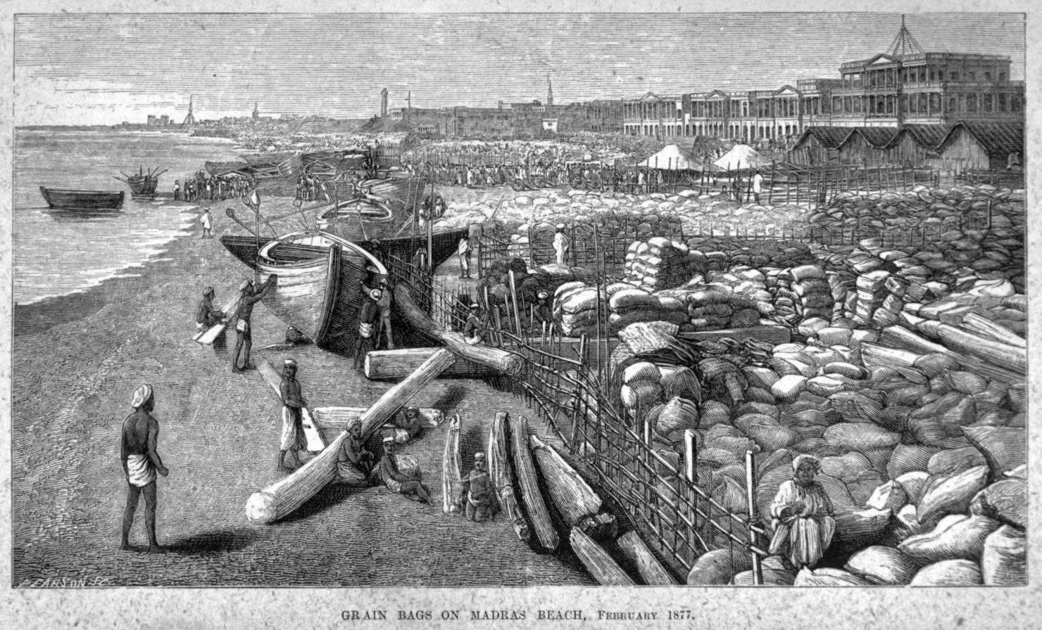رسم تخيلي يجسد القمح الهندي الممخزن استعدادا لتصديره عام 1877