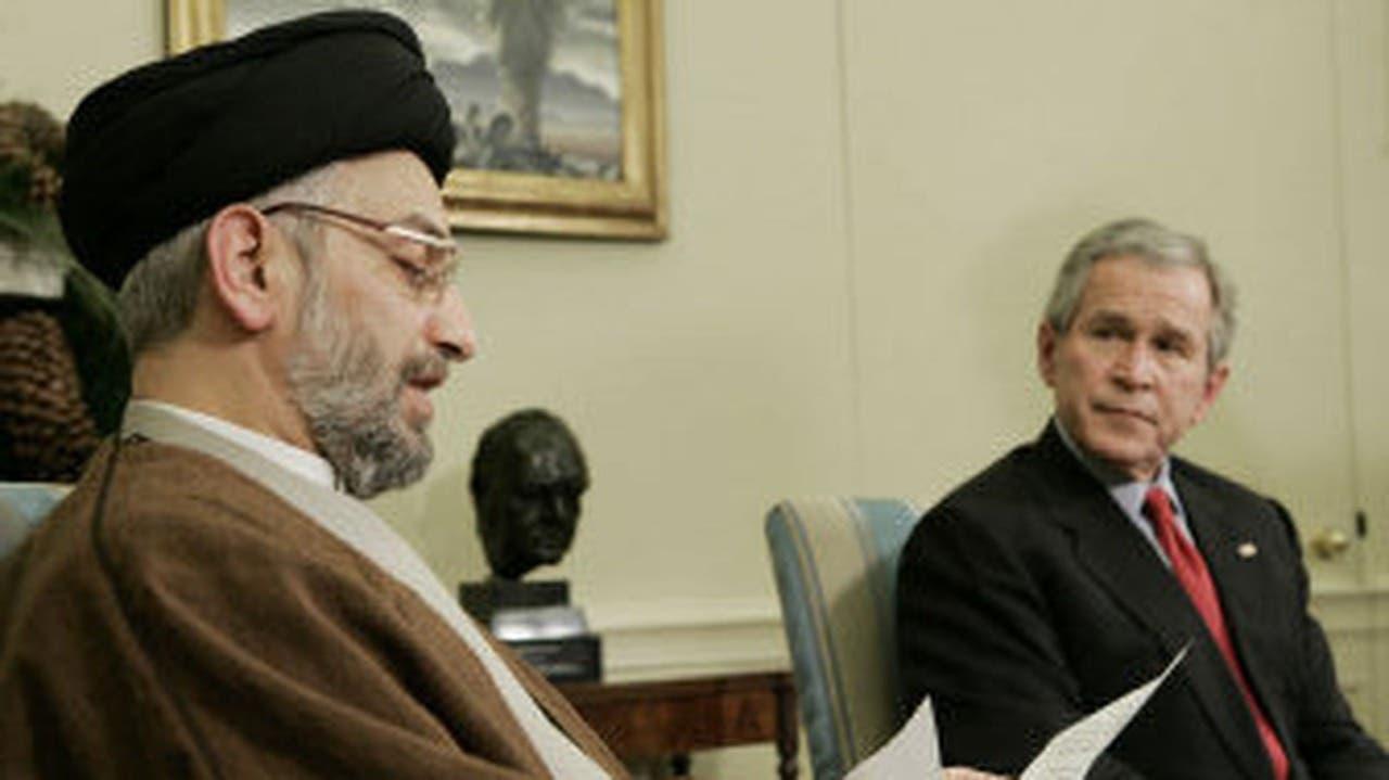 الرئيس الإمريكي جورج دبليو بوش مستقبلا السيد عبد العزيز الحكيم في البيت الأبيض