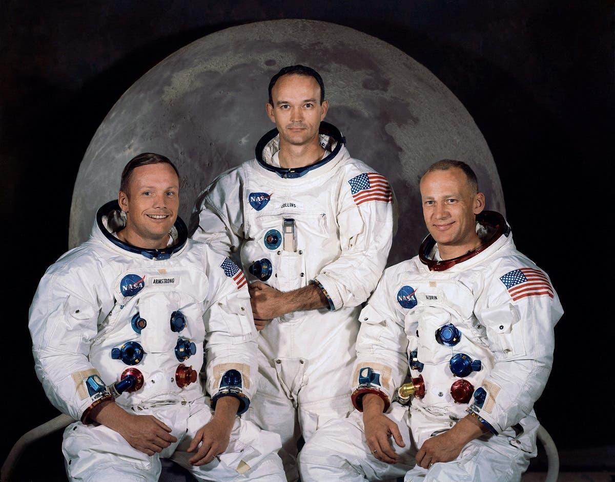 "The official crew portrait of the Apollo 11 astronauts taken at the Kennedy Space center on March 30, 1969, (shown L-R) are Neil A. Armstrong, Commander; Michael Collins, Module Pilot; Edwin E. ""Buzz"" Aldrin, Lunar Module Pilot. (AP)"