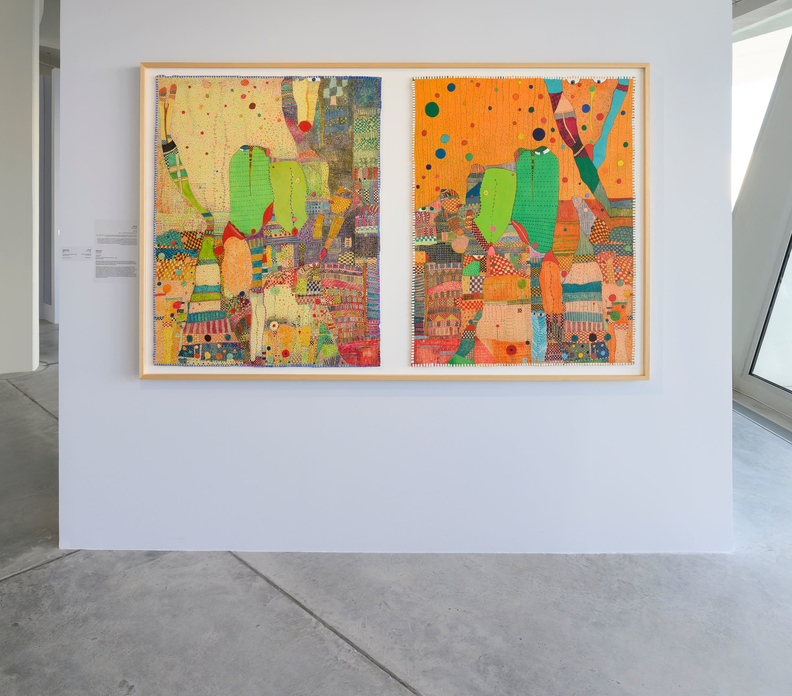 Huguette Caland, Rossinante Diptych, 2011. 2 paintings: acrylic and pen on canvas; 100 x 130 x 2 cm. Installation view: Unsettled Objects, Sharjah Art Foundation, 2021. (Photo: Sharjah Art Foundation)