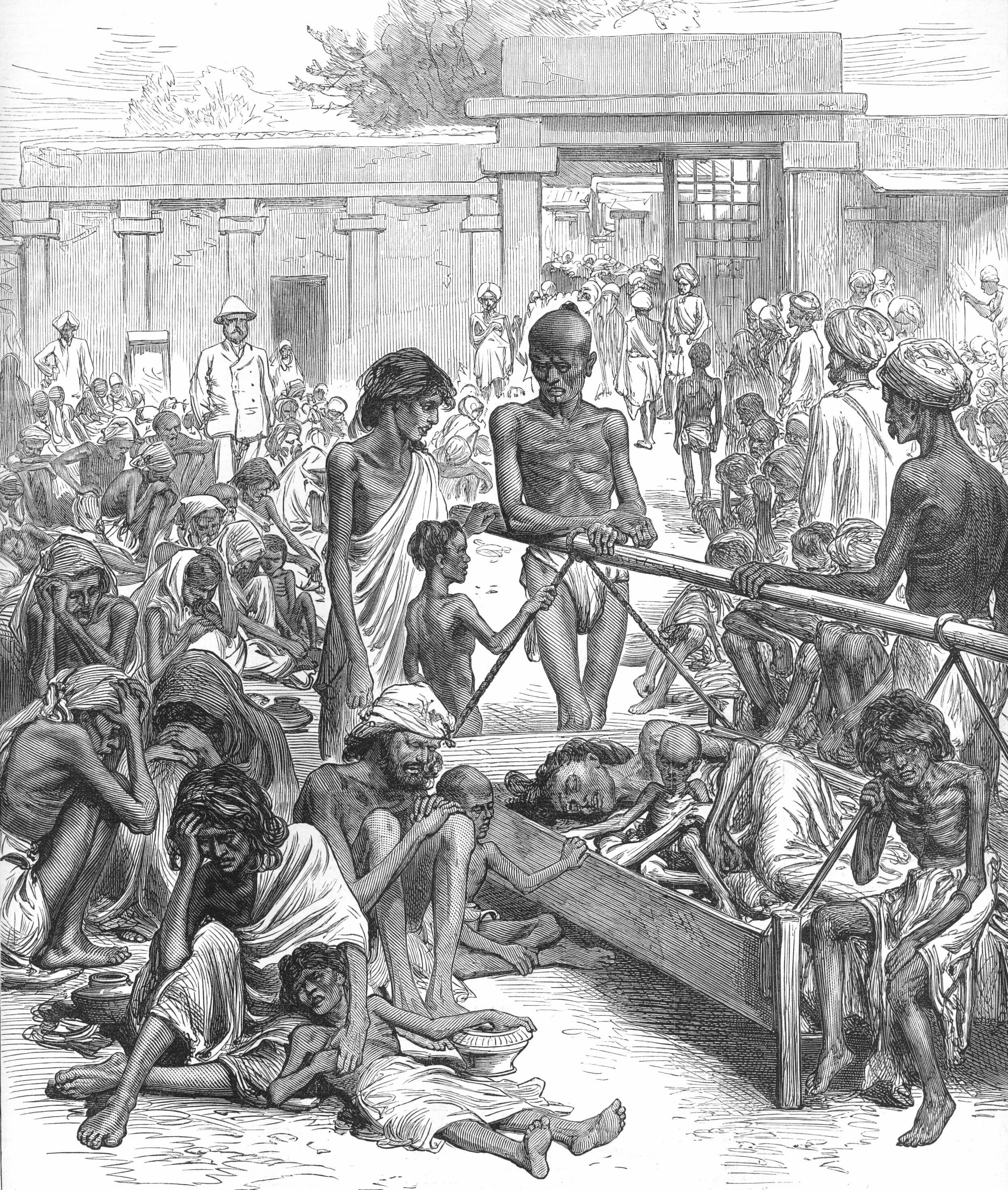 رسم تخيلي لجانب من الهنود عام 1877 في انتظار المساعدات الغذائية