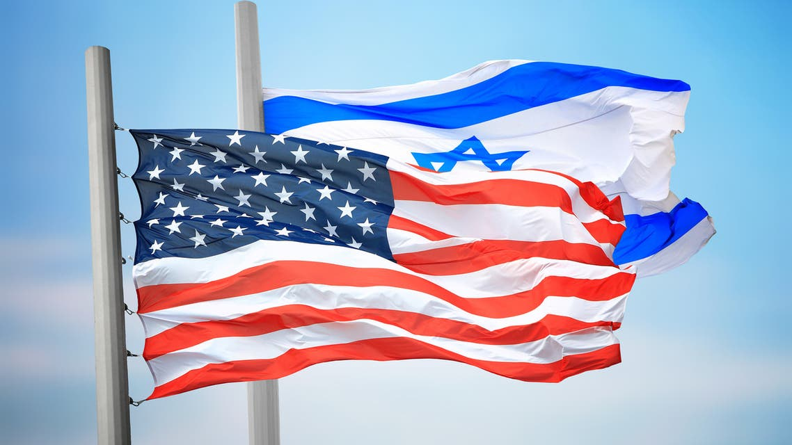 United States and Israel two flags together textile cloth fabric texture stock photo