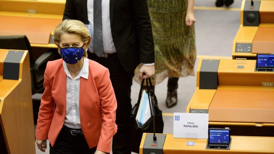 European Commission President Ursula von der Leyen leaves after addressing the EU Parliament plenary session in Brussels, Belgium April 26, 2021. REUTERS/Johanna Geron