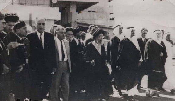 السيد محسن الحكيم أثناء زيارته السعودية لأداء مراسم الحج، وفي استقباله وزير الداخلية حينها الأمير فهد بن عبد العزيز والوفد المرافق له
