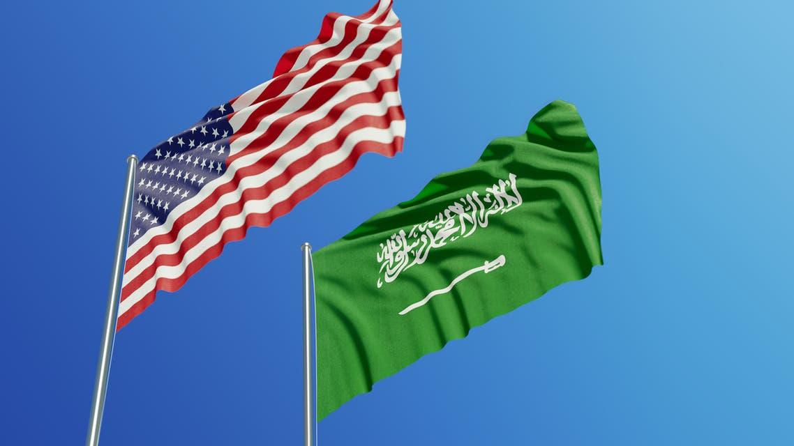 Flag of the USA and Saudi Arabia stock photo