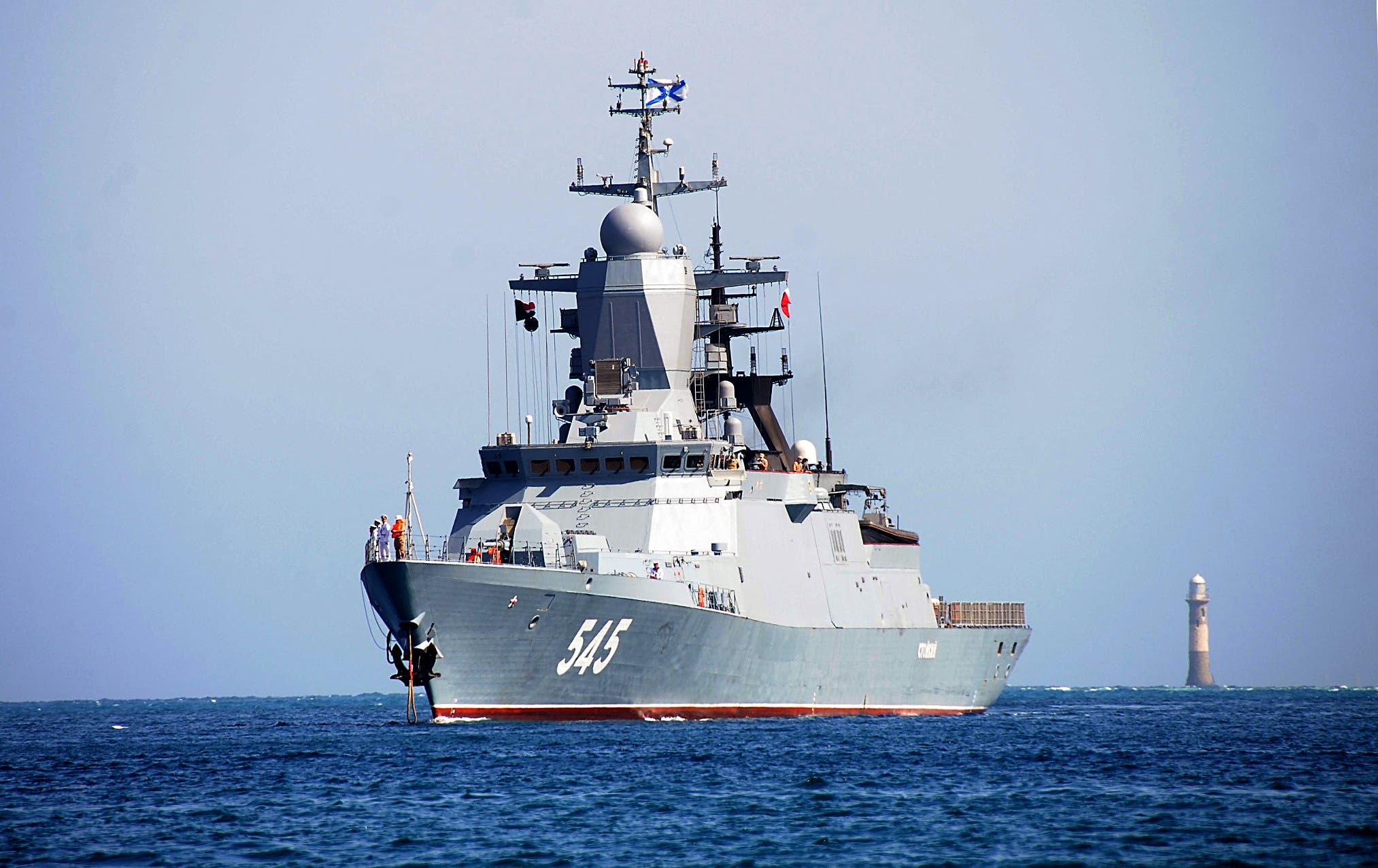 A Russian warship arrives last March in Port Sudan