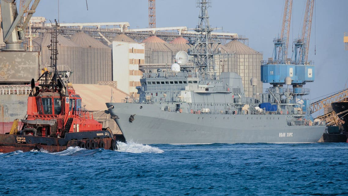 The Russian navy intelligence collection ship Ivan Khurs is docked at the port of the Sudanese city of Port Sudan, on April 10, 2021.