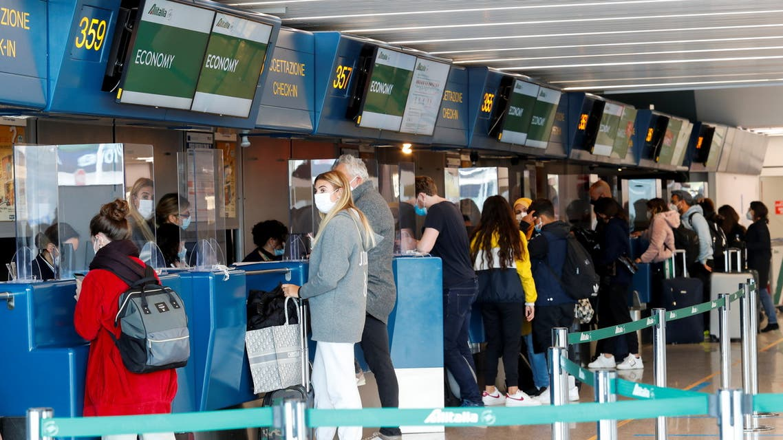 A view of the Alitalia check-in counter at Fiumicino International Airport as talks between Italy and the European Commission over the revamp of Alitalia are due to enter a key phase, in Rome, Italy, April 15, 2021. (File photo: Reuters)