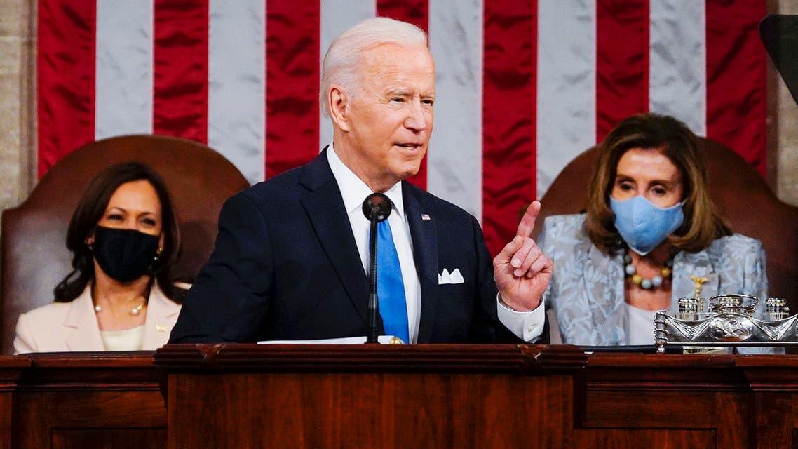 بايدن خلال خطاب المئة يوم أمام الكونغرس (أسوشييتد برس)