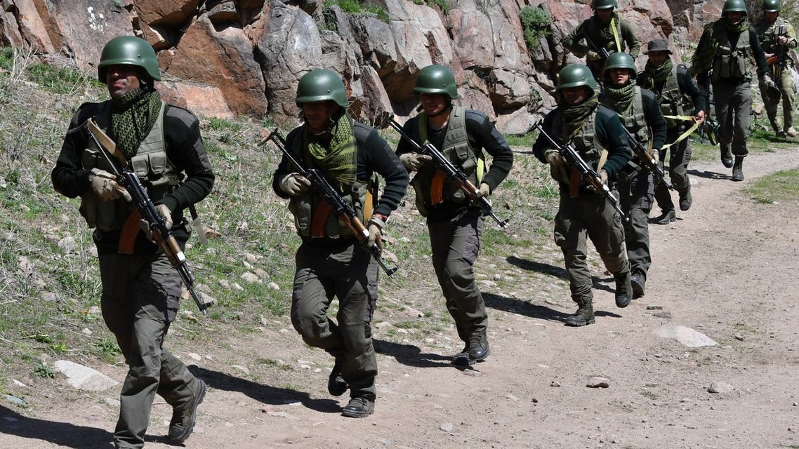 Servicemen of the special armed forces of India attend the Anti-terror Kanjar 2021 joint Kyrgyz Indian military drills in the Tatyr gorge training area, some 20 kilometres outside Bishkek on April 26, 2021. (File photo: AFP)