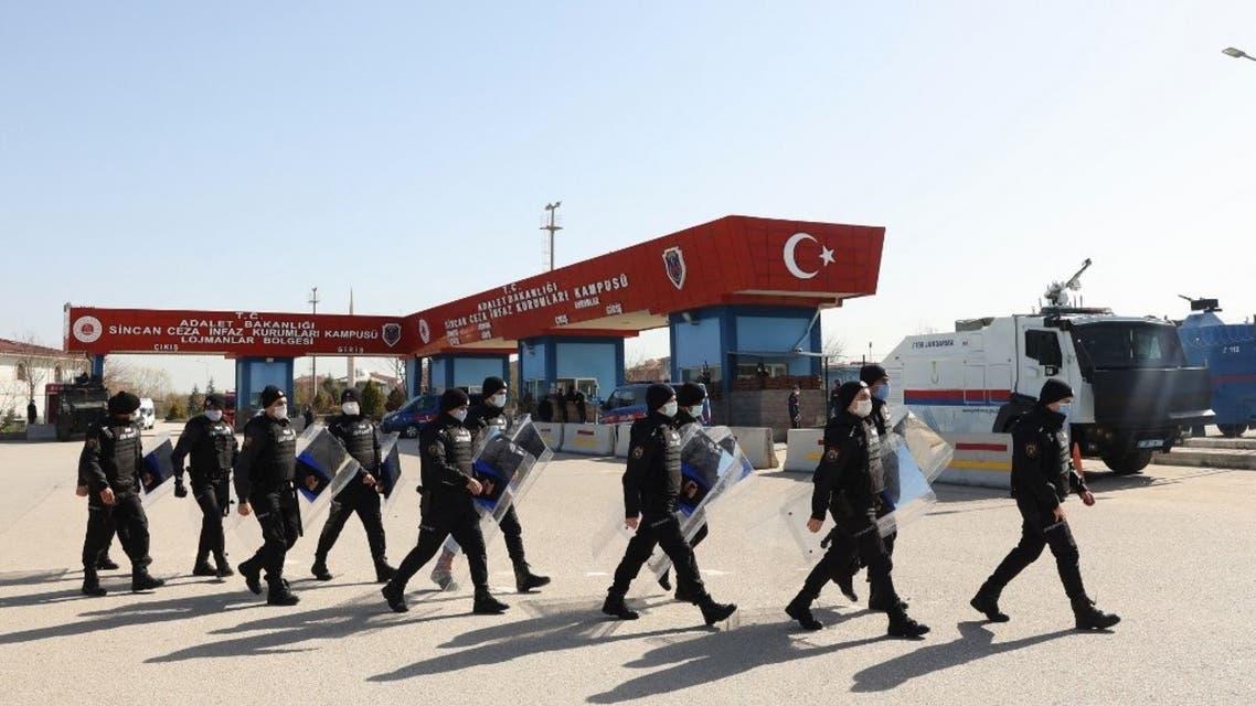 Riot police enter courthouse of Sincan, outside Ankara, on April 7, 2021. (AFP)