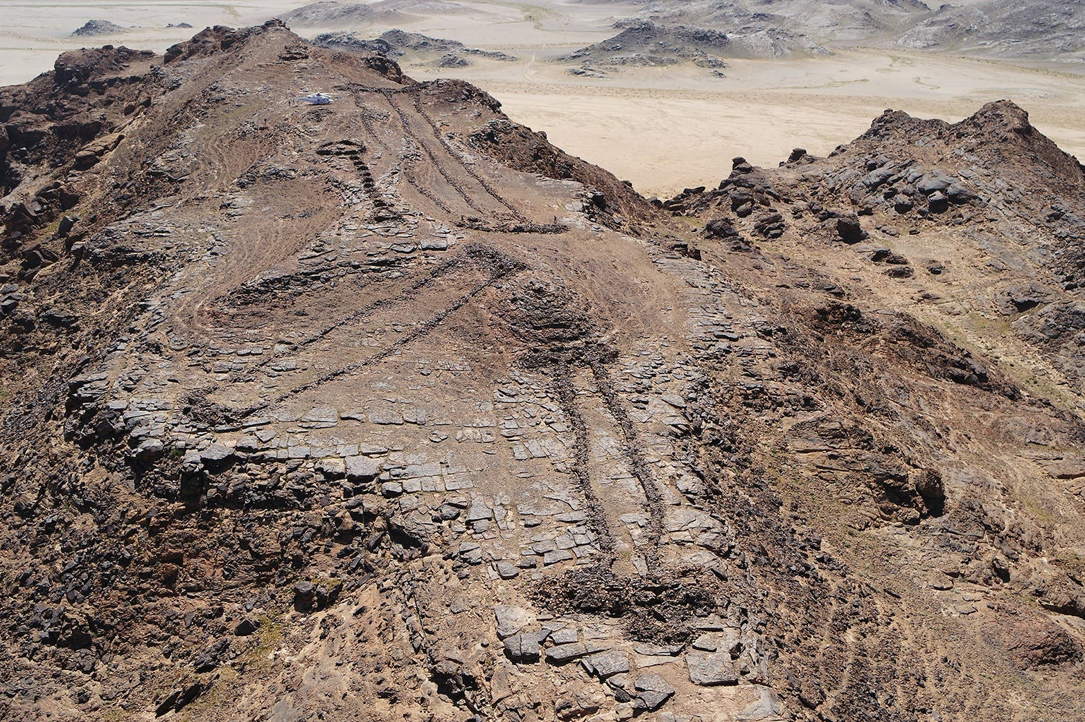 Three monumental mustatils and a later funerary 'pendant' located atop a rocky outcrop on the border of Khaybar and AlUla counties. (Image: Royal Commission for AlUla)