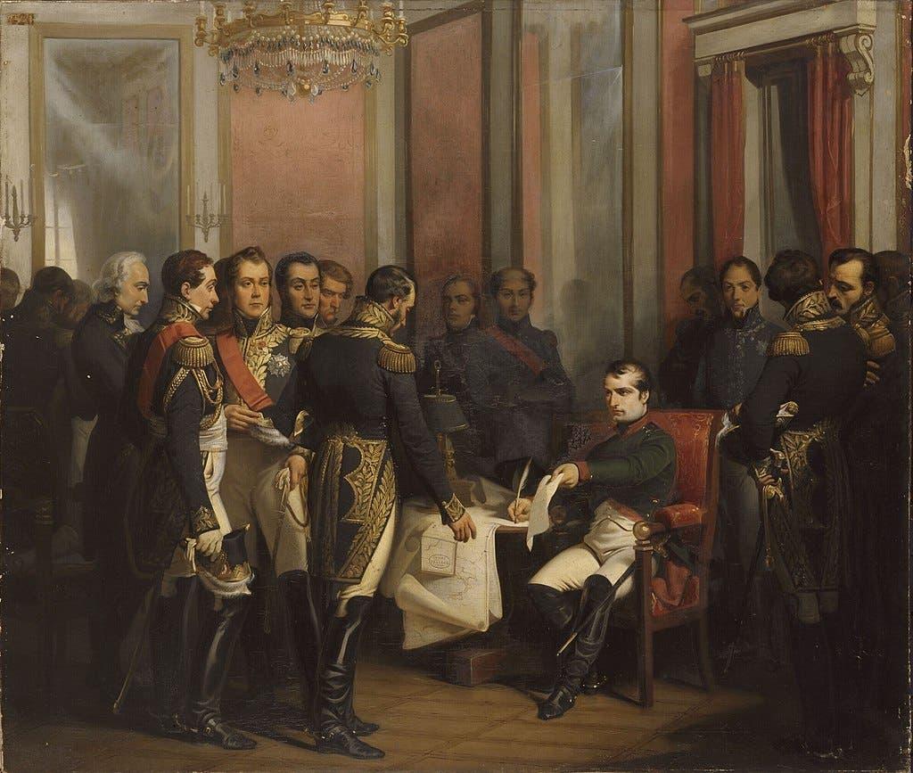 نابليون اثناء توقيعه على قرار تنازله عن العرش