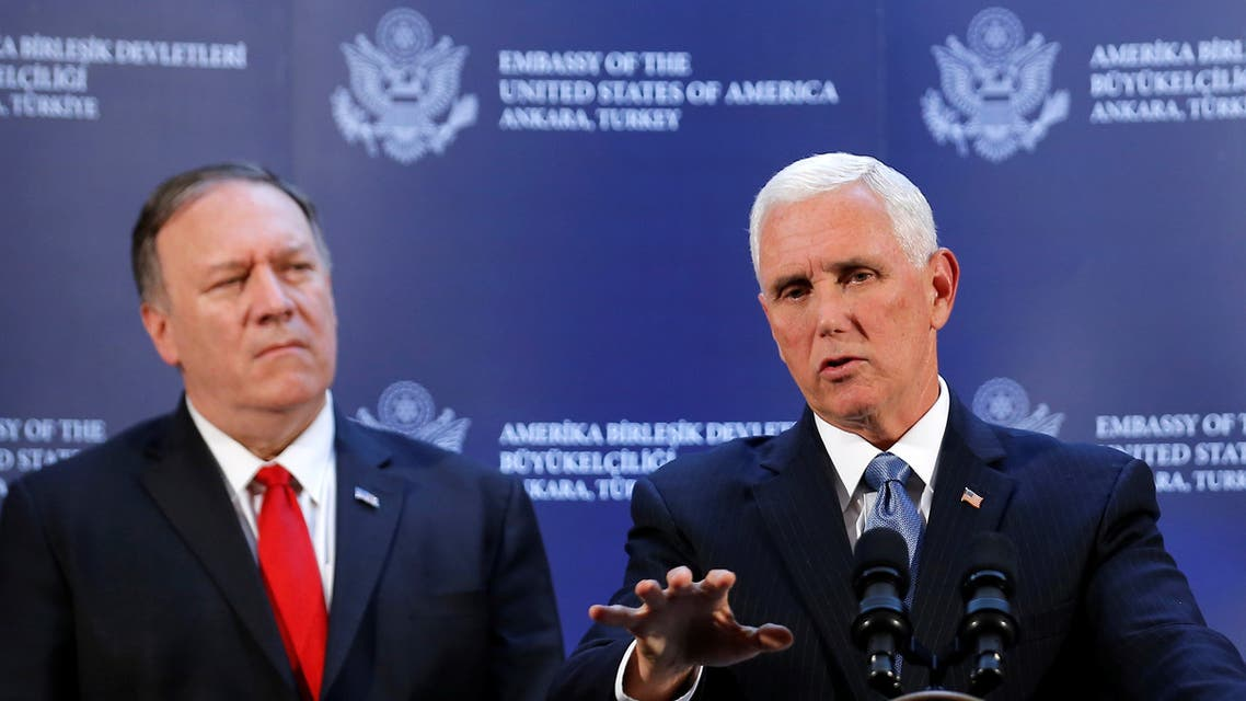 Former U.S. Vice President Mike Pence speaks during a news conference, as former U.S. Secretary of State Mike Pompeo looks on, at the U.S. Embassy in Ankara, Turkey, October 17, 2019. (File photo: Reuters)