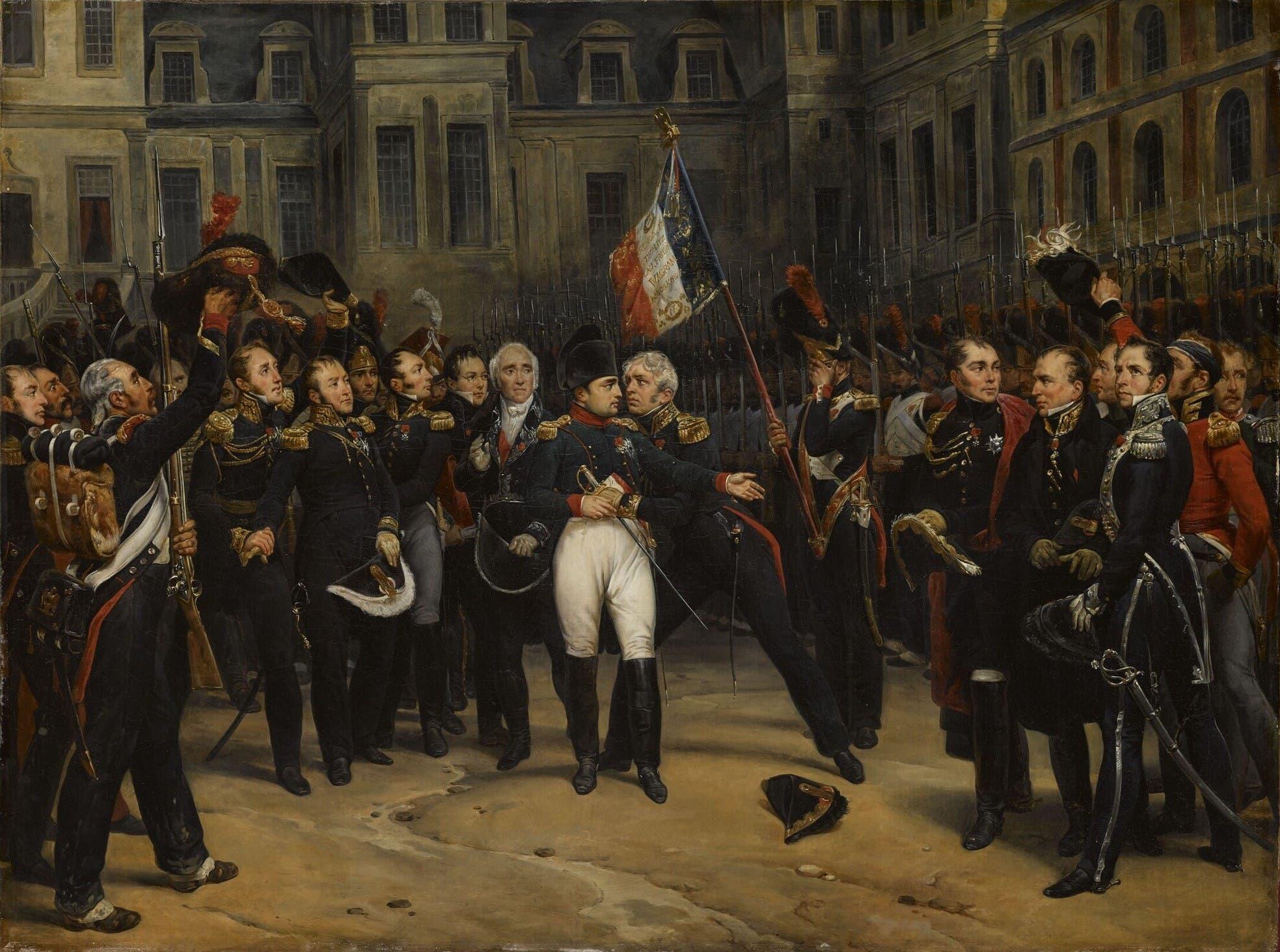 نابليون بونابرت اثناء توديعه لجنرالاته ومساعديه بفونتنبلو