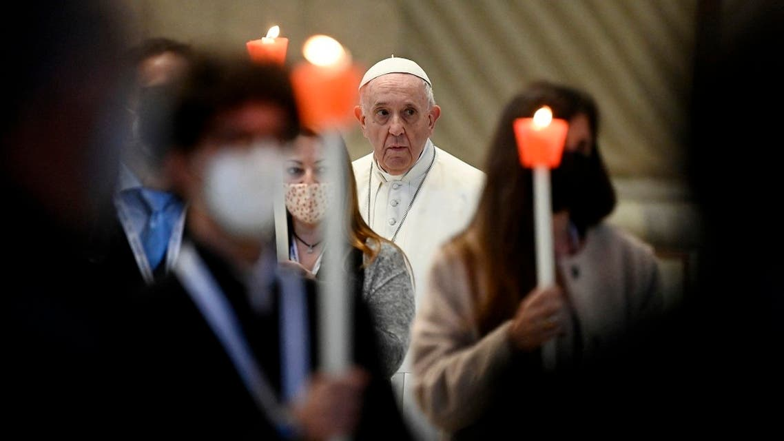 Pope Francis leads a rosary prayer for the beginning of the month of May in the Gregorian Chapel inside Saint Peter's Basilica, at Vatican on May 1, 2021. (Riccardo Antimiani/Pool/AFP)